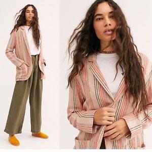 NWT Free People cream peach striped oversiz blazer
